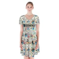 Old comic strip Short Sleeve V-neck Flare Dress