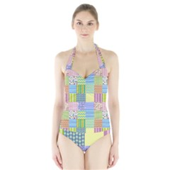 Old Quilt Halter Swimsuit