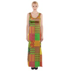 Old Quilt Maxi Thigh Split Dress