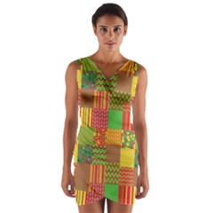 Old Quilt Wrap Front Bodycon Dress