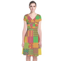 Old Quilt Short Sleeve Front Wrap Dress