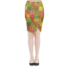 Old Quilt Midi Wrap Pencil Skirt