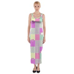 Old Quilt Fitted Maxi Dress