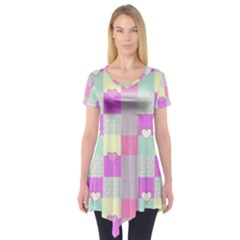 Old Quilt Short Sleeve Tunic