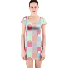 Patchwork Short Sleeve Bodycon Dress
