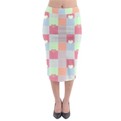 Patchwork Midi Pencil Skirt