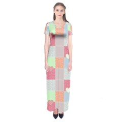 Patchwork Short Sleeve Maxi Dress