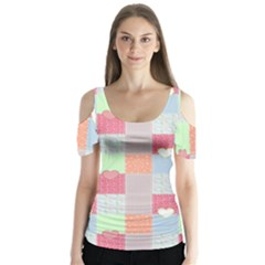 Patchwork Butterfly Sleeve Cutout Tee