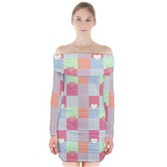 Patchwork Long Sleeve Off Shoulder Dress