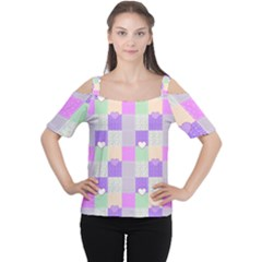 Patchwork Women s Cutout Shoulder Tee