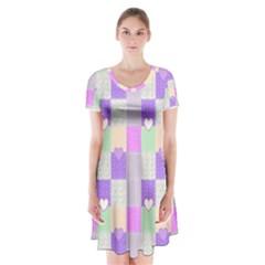 Patchwork Short Sleeve V-neck Flare Dress