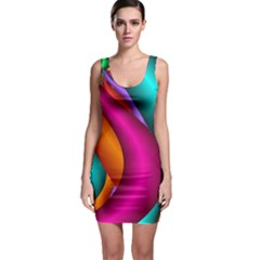 Fractal Wallpaper Color Pipes Sleeveless Bodycon Dress