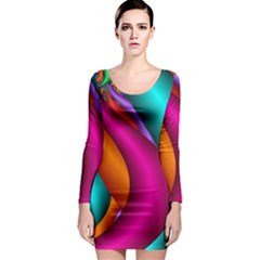 Fractal Wallpaper Color Pipes Long Sleeve Bodycon Dress