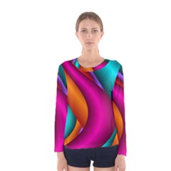 Fractal Wallpaper Color Pipes Women s Long Sleeve Tee