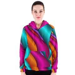 Fractal Wallpaper Color Pipes Women s Zipper Hoodie