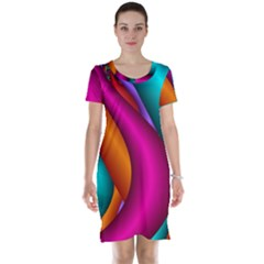 Fractal Wallpaper Color Pipes Short Sleeve Nightdress