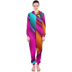 Fractal Wallpaper Color Pipes Hooded Jumpsuit (ladies)