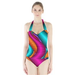 Fractal Wallpaper Color Pipes Halter Swimsuit