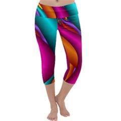 Fractal Wallpaper Color Pipes Capri Yoga Leggings