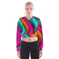 Fractal Wallpaper Color Pipes Women s Cropped Sweatshirt