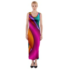 Fractal Wallpaper Color Pipes Fitted Maxi Dress