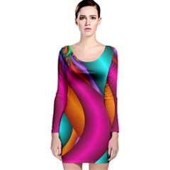 Fractal Wallpaper Color Pipes Long Sleeve Velvet Bodycon Dress