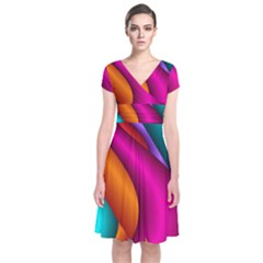 Fractal Wallpaper Color Pipes Short Sleeve Front Wrap Dress
