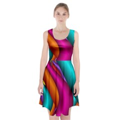 Fractal Wallpaper Color Pipes Racerback Midi Dress