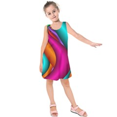 Fractal Wallpaper Color Pipes Kids  Sleeveless Dress