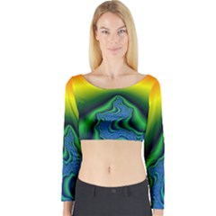 Fractal Wallpaper Water And Fire Long Sleeve Crop Top