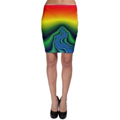 Fractal Wallpaper Water And Fire Bodycon Skirt