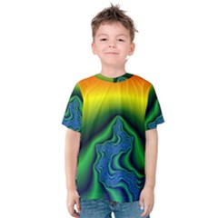 Fractal Wallpaper Water And Fire Kids  Cotton Tee