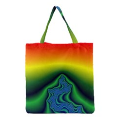 Fractal Wallpaper Water And Fire Grocery Tote Bag