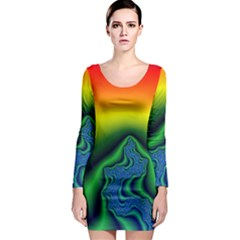 Fractal Wallpaper Water And Fire Long Sleeve Bodycon Dress