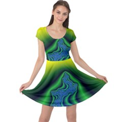 Fractal Wallpaper Water And Fire Cap Sleeve Dresses