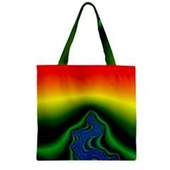 Fractal Wallpaper Water And Fire Zipper Grocery Tote Bag