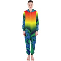 Fractal Wallpaper Water And Fire Hooded Jumpsuit (ladies)
