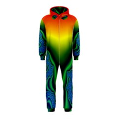 Fractal Wallpaper Water And Fire Hooded Jumpsuit (Kids)