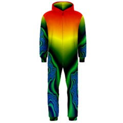 Fractal Wallpaper Water And Fire Hooded Jumpsuit (men)
