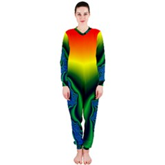 Fractal Wallpaper Water And Fire Onepiece Jumpsuit (ladies)