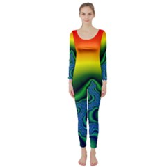 Fractal Wallpaper Water And Fire Long Sleeve Catsuit