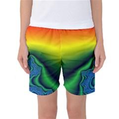 Fractal Wallpaper Water And Fire Women s Basketball Shorts