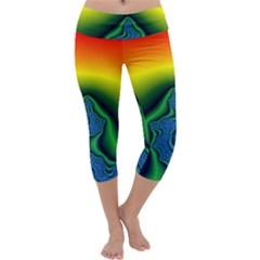 Fractal Wallpaper Water And Fire Capri Yoga Leggings