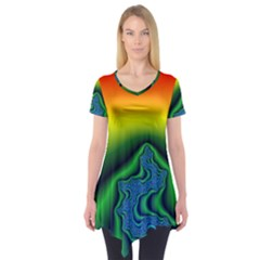 Fractal Wallpaper Water And Fire Short Sleeve Tunic
