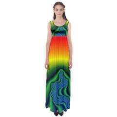 Fractal Wallpaper Water And Fire Empire Waist Maxi Dress
