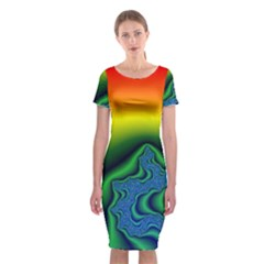 Fractal Wallpaper Water And Fire Classic Short Sleeve Midi Dress