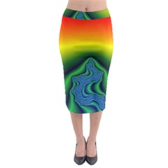 Fractal Wallpaper Water And Fire Midi Pencil Skirt