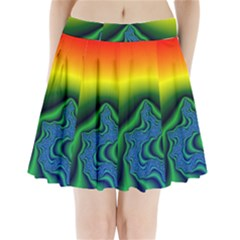 Fractal Wallpaper Water And Fire Pleated Mini Skirt