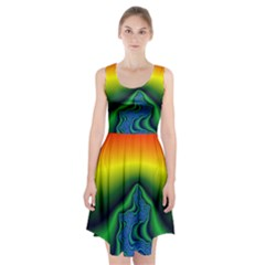 Fractal Wallpaper Water And Fire Racerback Midi Dress