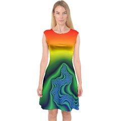 Fractal Wallpaper Water And Fire Capsleeve Midi Dress